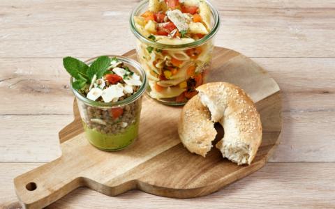 salade, verrines et bagels
